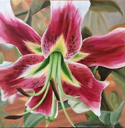 If Lillies could Talk, Oil, 16x16 (Photo Credit Tereasa Thompson Martin) with white frame $350 arty.adri@live.com