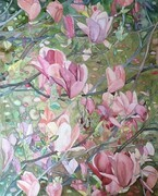 Magnolia Dyptych (left side), Watercolour on Canvas