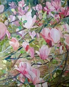 Magnolia Dyptych, (Right Side) Watercolour on Canvas