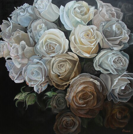 Moody Blooms, Oil, 36x36 SOLD