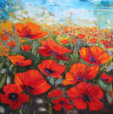 PALET KNIFE POPPIES - SOLD