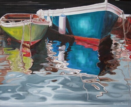 Peacefully Retired, Oil, 24x30 (study for Dockside Reflections)  not available