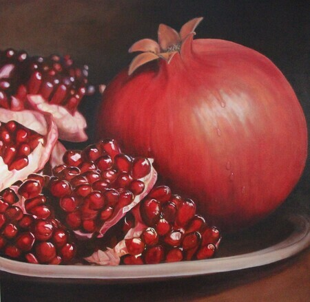Pomegranate Commission, Oil, 30x30 SOLD
