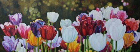 Springing into Action, Oil, 18x48, SOLD